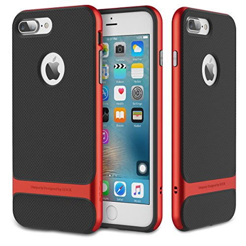 iPhone 7 Plus (5.5 Inch) Case, ROCK MOOST [Royce Series] Dual Layer Thin & Slim Shockproof Case for iPhone 7 Plus [Black / Red]