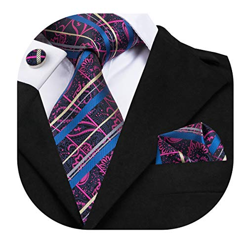 (Dubulle Mens Designer Paisely Silk Tie and Pocket Square Set Necktie with Cufflinks)