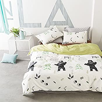 VClife Kids Duvet Cover Sets Cotton Bedding Sets with 2 Pillow Cases Cute Forest Bear Printed Durable Mental Zipper Closure Bedding Comforter Cover Sets (Queen) Reversible Cozy Comforter Cover Sets