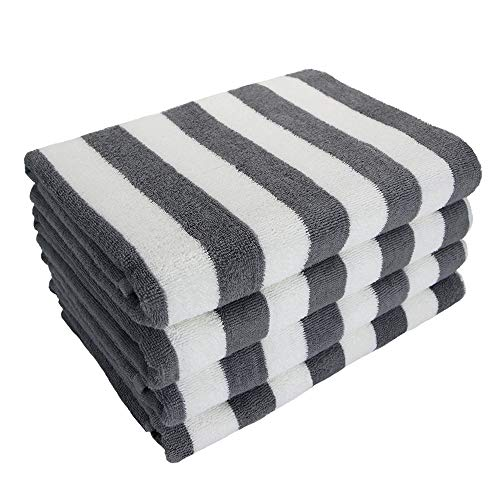 Arkwright California Cabana Striped Oversized Beach Towel Pack of 4 | Ringspun Cotton Double Yarn Strength | Perfect Pool Towel, Beach Towel, Bath Towel (Extra Large 30 x 70 Inch, - Resort Washcloth Collection