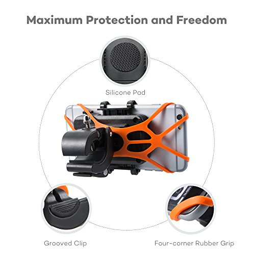 Taotronics Bike Phone Mount Bicycle Holder, Universal Cradle Clamp for iOS Android Smartphone GPS other Devices, with One-button Released, 360 Degrees Rotatable, Rubber Strap
