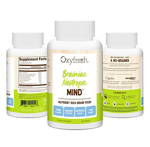 Oxyfresh Mind Daily Nootropic Supplement – Brain Function Support – Neuro Cognitive Nutrient – Improve Memory – Increase Mental Acuity – Better Clarity & Concentration – 120 Packets – Oxyfresh Mind Review