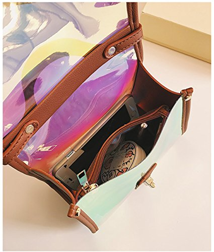 1 Tote Womens Clear Red 2 Leather Bag Bags in PU Shoulder Hologram Holographic Cossbody Laser Purse qCxpH87wq