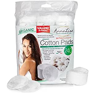 AnnaLisa Italian 100% Organic Cotton Rounds (240 Ct) Updated Version STITCHED