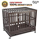 Haige Pet Your Pet Nanny Heavy Duty Dog Cage Kennel Crate Playpen Metal Strong for Training Large Dogs Indoor Outdoor with Door & Locks Design Included Lockable Wheels, Easy to Install, 46''