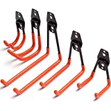 Heavy Duty Garage Storage Utility Hooks and Hanger, Wall Mount Tool Holder Garage Organizer with Anti-Slip Coating for Home Chair Ladder Bike Bicycle & Garden Hose (5 Pack - Orange)