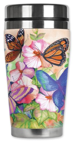 Mugzie Garden Butterflies Travel Mug with Insulated Wetsuit Cover, 16 oz, Black ()
