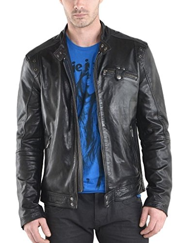 (Men Slim Lambskin Leather Coat Motorcycle Biker Overcoat A707 XXL Black)