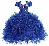 AkiDress Multi Ruffled Organza Dress with Bolero Jacket for Big Flower Girl Royal Blue 7