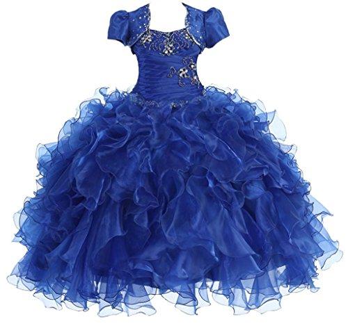 AkiDress Multi Ruffled Organza Dress with Bolero Jacket for Big Flower Girl Royal Blue 7 by Aki_Dress