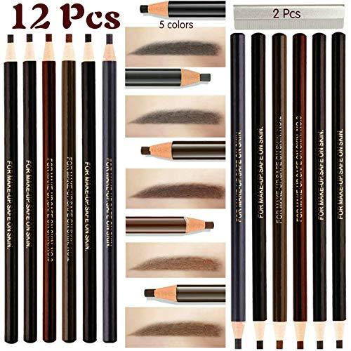12 Piece Waterproof Eyebrows Pencil Tattoo Makeup And Microblading Supplies Kit-Permanent Eye Brow Liners In 5 Colors(Black, brown, gray) Waterproof Eyebrow Pencils Peel - Brow Pencil Set For Marking ()