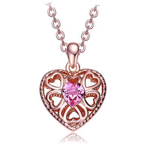 Christmas Gifts for Women NEEMODA Pink Crystal Heart Pendant