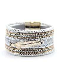 M&B Womens Multi Layered Feather Crystal Cuff Bracelet with Gold Accent and Magnetic Closure