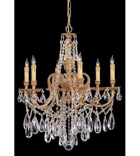 Chandeliers 6 Light With Olde Brass Clear Swarovski Strass Crystal Cast Brass 25 inch 360 Watts - World of - Crystal Brass Strass Olde Swarovski