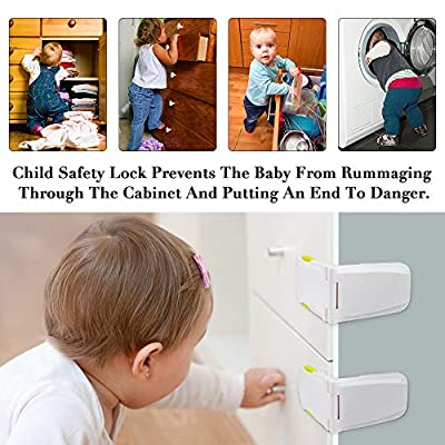 Cabinet Locks Child Safety, KOMAKE 4 Pack Child Locks Baby Proofing Drawer Locks No Tools or Drilling Needed Baby Safety Locks for Refrigerator Door Oven Toilet