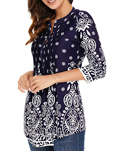 Split Neck Top - Womens Flowy Tunic Flared Tunic Tops Loose Round Neck Blouse Block Shirts Royal Blue Medium