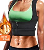 LODAY Women Neoprene Sauna Sweat Waist Trainer Vest with Zipper for Weight Loss Gym Workout Body Shaper Tank Top Shirt (Black(Girdles Shapewear), M: US 12)