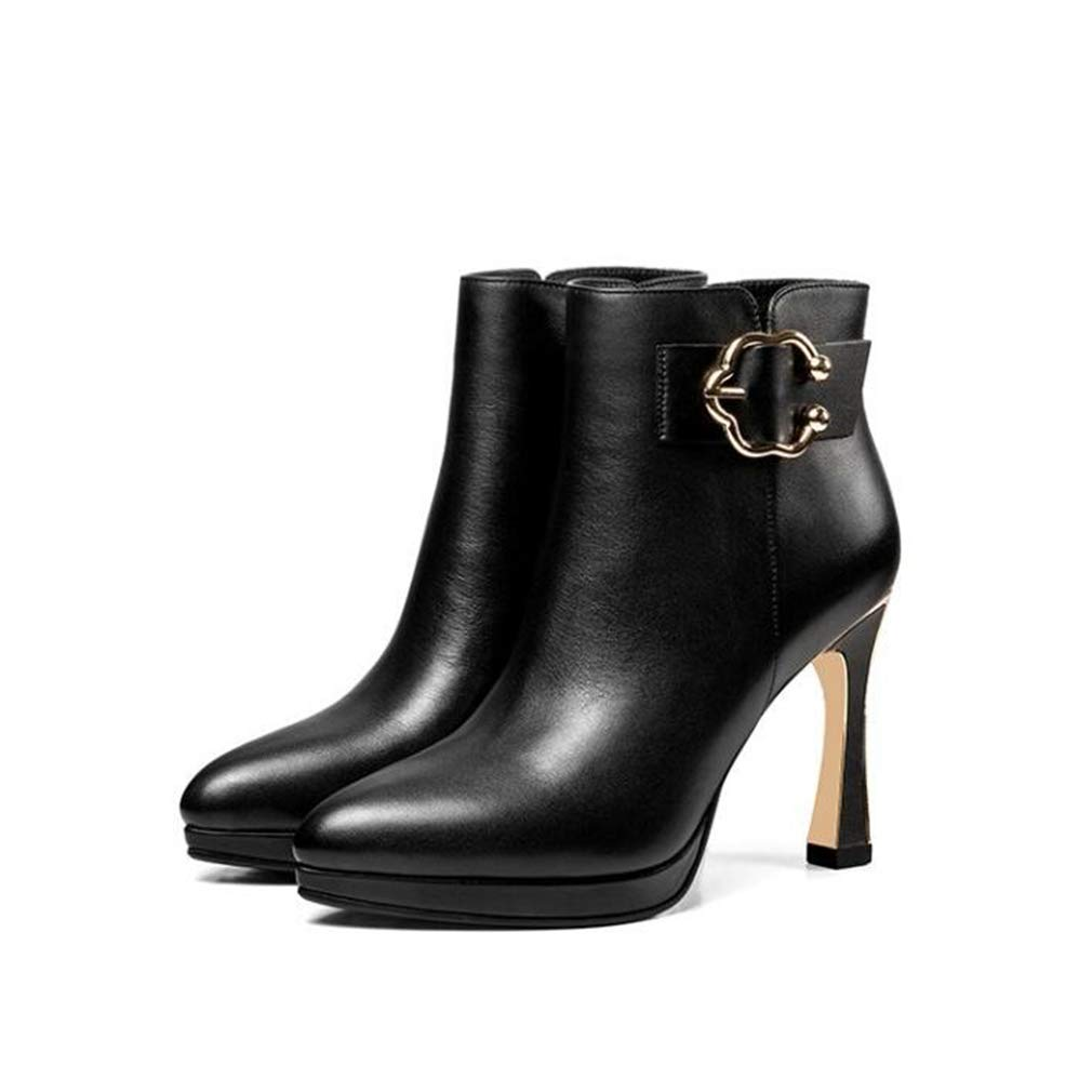 Hy Damen Stiefel, Leder Herbst Winter Stiletto Heels, Damen Super High Heel Mode Stiefel Formelle Schuhe (Farbe   Schwarz, Größe   38)