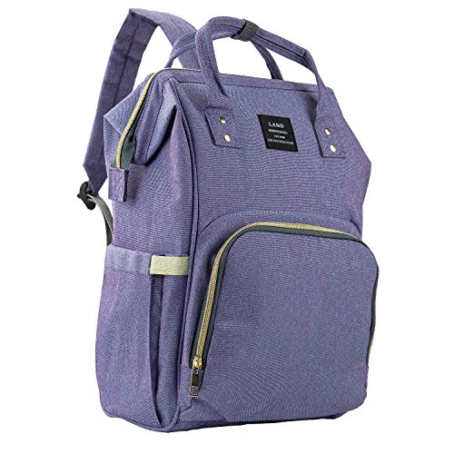 Baby Diaper Bag Large Capacity Mommy Backpack Baby Nappy Tote Bags Multi-Function Travelling Backpack for Mom Travellers Nurses Students (Blue&Purple)