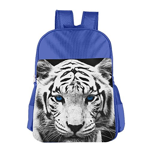 White Tiger With Blue Eyes Kids Backpack For Boys Girls Fit School Backpack