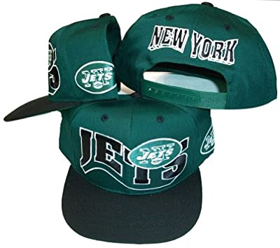 New York Jets Vintage Green/Black Two Tone Plastic Snapback Adjustable Plastic Snap Back Hat / Cap by NFL Brand