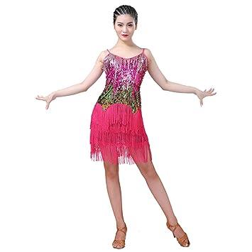 Dkhsy Mujeres Vestido de Baile Gradiente Colorido Latino ...
