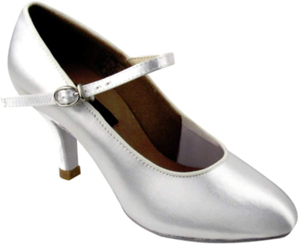 Flesh Satin or White Satin 7, White Satin Very Fine Shoes Ladies Standard /& Smooth Competitive Dancer Series CD5024M 2.5
