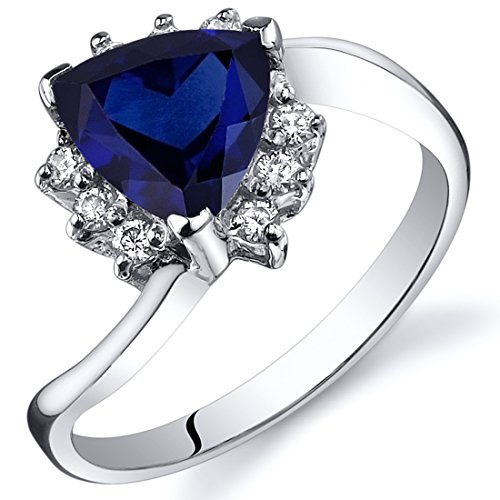 Created Sapphire Bypass Ring Sterling Silver Rhodium Nickel Finish Trillion Cut 1.75 Carats Size 6