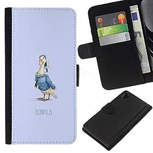 // PHONE CASE GIFT // Moda Estuche Funda de Cuero Billetera Tarjeta de crédito dinero bolsa Cubierta de proteccion Caso Sony Xperia Z2 D6502 / Funny Duck Donald /