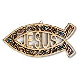 My Daily Styles Wooden Christianity Jesus Ichthys Fish Wall Decor with Simulated Gemtones - Made in Israel
