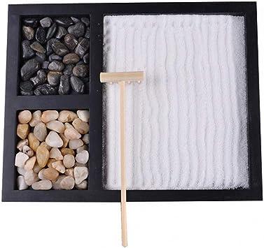Jardin Zen Conjunto de Jardín Herramientas de meditación de escritorio hechas a mano Regalos de relajación, 8.5 x 6.7 pulgadas Mini Zen Kit para Zen Corner, Oficina, Decoración del hogar: Amazon.es: Bricolaje