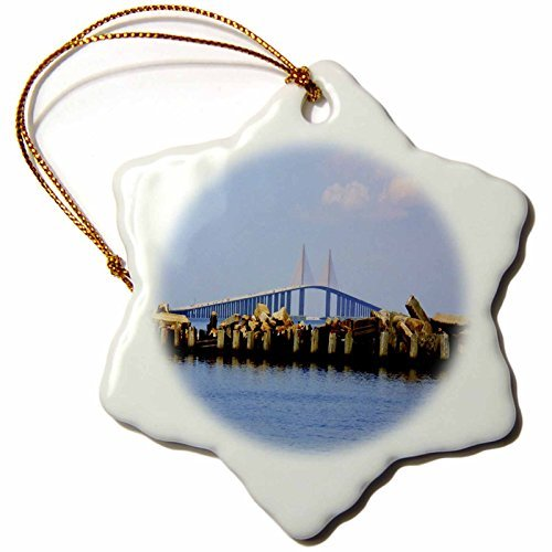 Christmas Ornament Florene America The Beautiful - The Sunshijne Bridge Tampa Florida - Snowflake Porcelain -