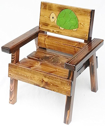 Kids Wood Chair with Arms, Heirloom Gift, Childrens' Patio or Garden Furniture, Engraved and Painted Turtle Design, Indoor / Outdoor