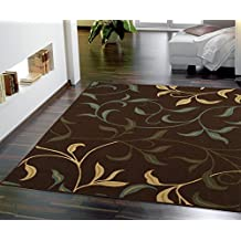"Ottomanson Ottohome Collection Contemporary Leaves Design Area Rug with Non-Skid (Non-Slip) Rubber Backing, 3'3"" W X 4'7"" L, Chocolate"