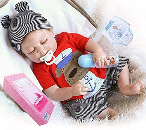 (Reborn Baby Boy Doll Full Body Silicone 18Inches 45cm Lifelike Newborn Baby Sleeping Boy Doll Birthday Gift Children)