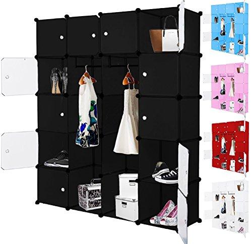 Kesser® Kleiderschrank DIY Schrank Regalsystem Steckregal Garderobe Schuhregal, Größe:20 Boxen / 1000 Liter;Farbe:Schwarz 20 Boxen