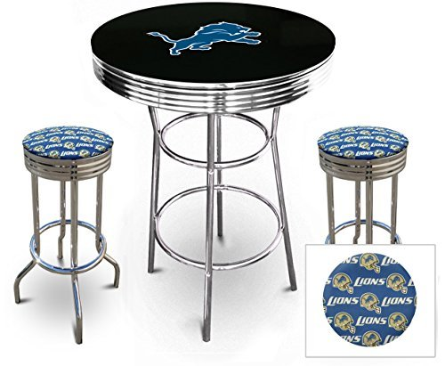 "Pub/Bar Table with Team Logo and 2 – 29"" Swivel Stools Featuring Your Favorite Football Team Upholstered Seat Cushions (Lions Pub Table)"
