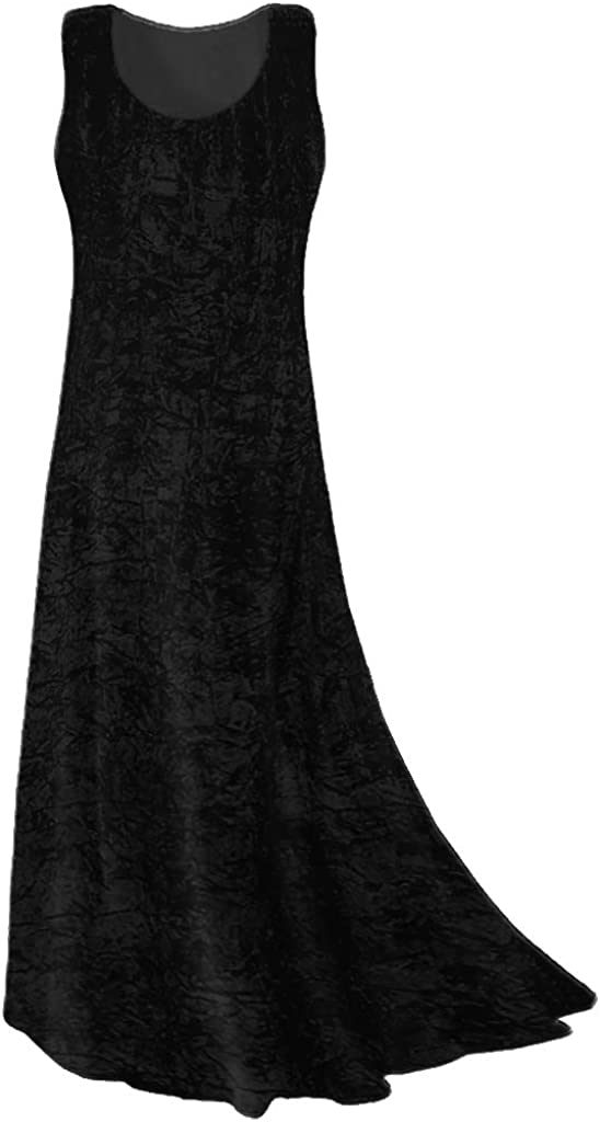 Plus Size Tank Dress, Black Crush Velvet Princess Cut Maxi ...