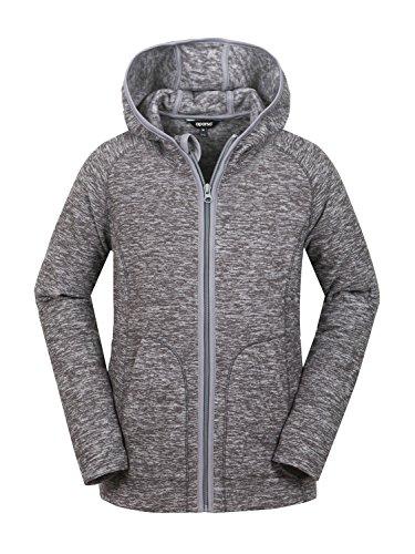 aparso Damen Fleecejacke Fleece Pullover Fleeceshirt Fleece Space Dye melange warm (Grau, L)
