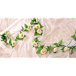 FYYDNZA 11Pcs 240Cm Silk Tea Roses Roses Ivy With Fake Green Leaves Home Decoration Wedding Diy Garland Pendant Artificial Flowers 113