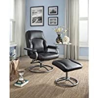 Recliner and Ottoman Set, Matching vinyl on back and sides- Black