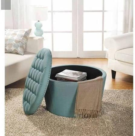 Better Homes and Gardens Comfortable Round Tufted Storage Ottoman with Nailheads Aqua