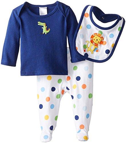 Absorba 2 Piece (ABSORBA Baby-Boys Newborn Dinosaur 3 Piece Footed Pant Set, Multi, 0-3 Months)