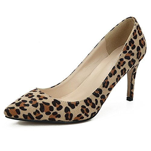 fereshte Women's Classic Pointy Toe Stiletto High Heel Wedding Dress Pumps Shoes Leopard EU40