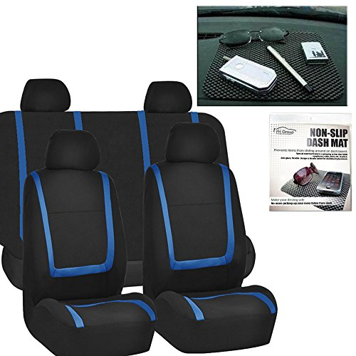 FH GROUP FH-FB032114 Unique Flat Cloth Car Seat Covers, Blue / Black with FH GROUP FH1002 Non-slip Black Dash Grip Pad Mat-Color- Fit Most Car, Truck, Suv, or Van