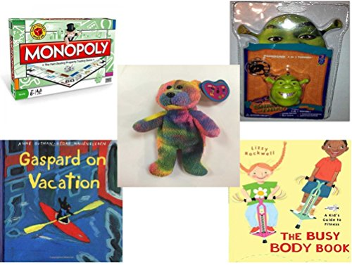 Children's Gift Bundle - Ages 6-12 [5 Piece] - Monopoly Board Game by Hasbro - Shrek The Third Foamheads 4 In 1 Topper Keychain Toy - Birthstone Full O'Beans Millennium Character January Simulated G