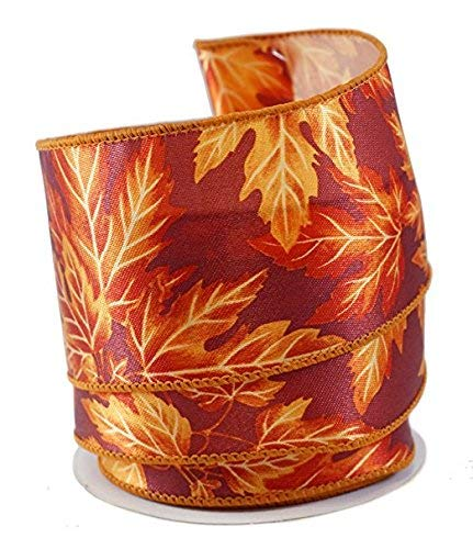 Maple Leaves Satin Wired Ribbon #40-2.5