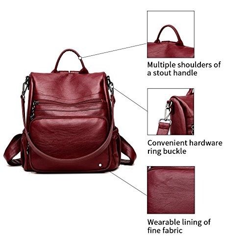 DSLONG Women Backpack Purse Bag Travel Anti-theft Leather Purse and Handbags (wine Red) by Guangkuo (Image #6)