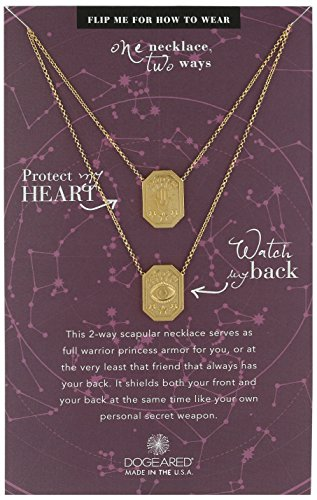 dogeared ancient moon rising protect my heart, watch my back, protection scapular gold chain necklace, 28