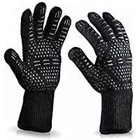 August Collective 1 Pair BBQ Grill Gloves Heat Resistant Kitchen Oven Silicone Non-Slip Glove for Cooking, Baking…